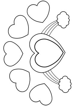 Heart 5 Heart and Rainbow free coloring pages for kids
