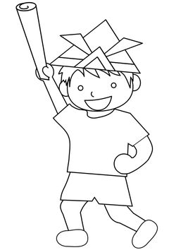 A boy playing with a sword and chopsticks in a newspaper free coloring pages for kids
