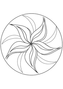Mandala 6 flower pattern Coloring Pages for kids