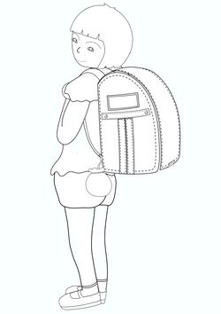 Girl carrying a parcel  free coloring pages for kids