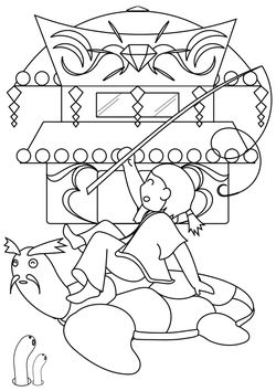Urashima Taro and Turtle and Ryugu Castle free coloring pages for kids