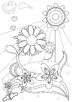 Flower-high level free coloring pages for kids