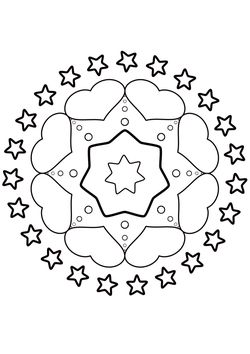 Mandala 9 Hearts and Stars free coloring pages for kids