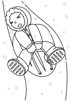 Sledding free coloring pages for kids