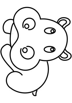 Hippo free coloring pages for kids