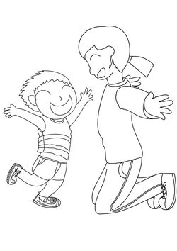 Nursery teacher and boy free coloring pages for kids