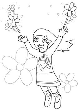 Flower and girl 2 free coloring pages for kids
