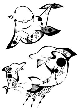 Premium 5 dolphin family free coloring pages for kids