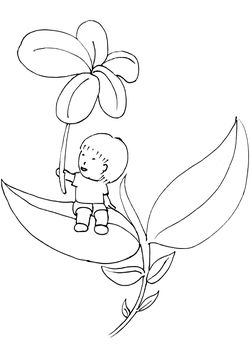 Boy and Flower free coloring pages for kids