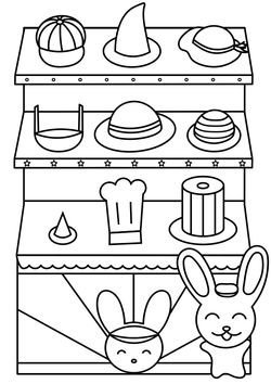 Hat shop rabbit Coloring Pages for kids