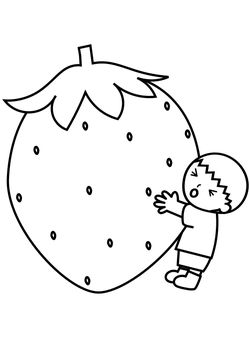 Large strawberry free coloring pages for kids