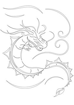 Water Dragon free coloring pages for kids