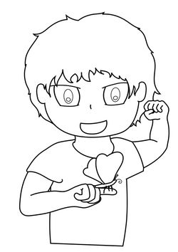 Butterfly and Boy free coloring pages for kids