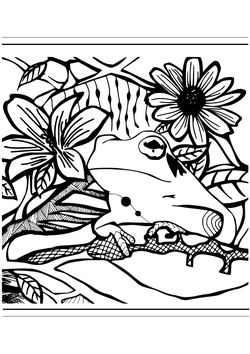 Premium11 Frog and Flowers free coloring pages for kids