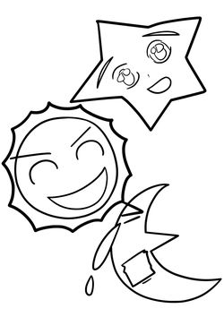 Star Sun Moon free coloring pages for kids