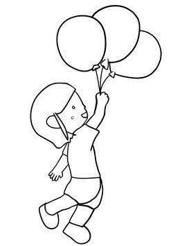Baloon free coloring pages for kids