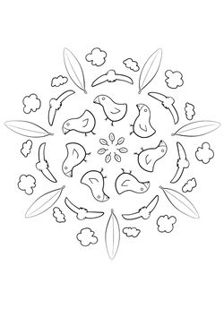 Mandala 21 Birds Coloring Pages for kids