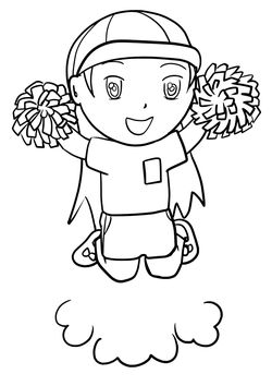 Cheerleader free coloring pages for kids