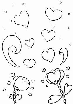Heart Flowers free coloring pages for kids