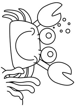 Crab free coloring pages for kids