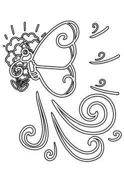 Butterfly and Flower6 free coloring pages for kids