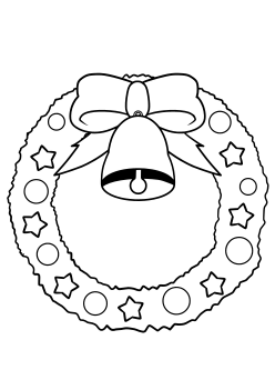 Christmas Wreath free coloring pages for kids