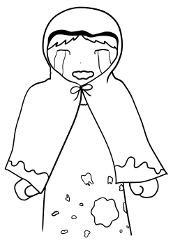 Crying Girl free coloring pages for kids