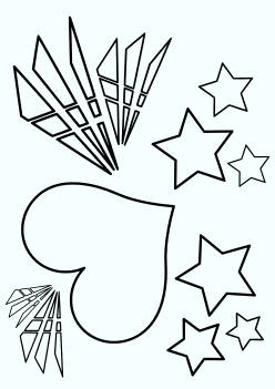 Heart and Stars free coloring pages for kids