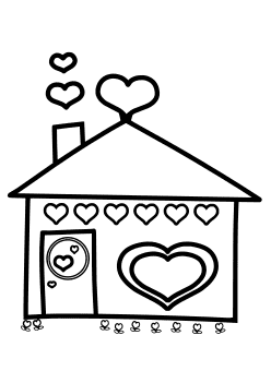 Heart House free coloring pages for kids