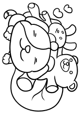 Dog and Dolls free coloring pages for kids