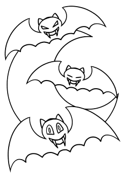 Moon and Bats free coloring pages for kids