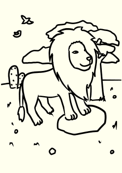 Real Lion free coloring pages for kids