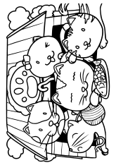 Cat Family free coloring pages for kids
