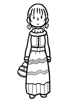 Dressed Girl2 free coloring pages for kids